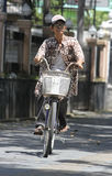 Bicycles. People using bicycles as transportation in the city of Solo, Central Java, Indonesia Stock Photos