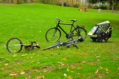 Bicycles at a picknic area Royalty Free Stock Photo