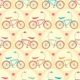 Bicycles and pink hearts Royalty Free Stock Photos