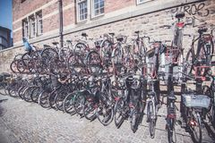 Bicycles placed on the street of Copenhagen royalty free stock image