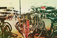 Bicycles in the port of Saint-Tropez, France, filtered Stock Photos