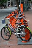 Public Rent-A-Bikes in Portland, Oregon. These are bicycles provided by the city for short-term renting to help with public transportation and ease traffic Stock Images