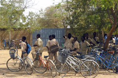 Bicycles of the pupils stock photos