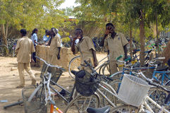 Bicycles of the pupils Stock Images