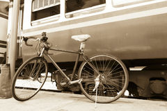 Bicycles in Railway Station Royalty Free Stock Photos