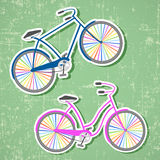 Bicycles with rainbow wheels Stock Photos