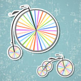 Bicycles with rainbow wheels Royalty Free Stock Image