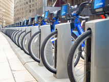 Bicycles for rent as part of the Citibike program in New York Ci Stock Images