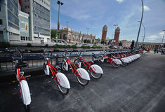 Bicycles rent in  Barcelona Royalty Free Stock Image