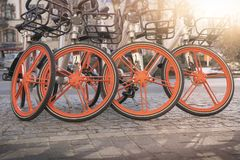 Bicycles for rent in Berlin. Group of some bicycles for rent in Berlin Royalty Free Stock Images