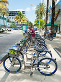 Bicycles for rent in Miami Beach Stock Images