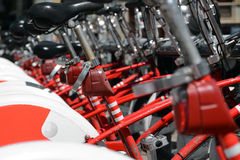 Bicycles for rent. Red white Bicycles for rent in Barcelona Stock Images