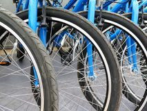 Bicycles for rent stand in a row Royalty Free Stock Photography