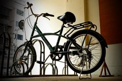 Bicycles that ride in the village. royalty free stock photography