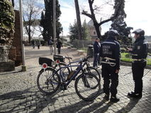 The bicycles of Rome's city policemen guard Stock Photo