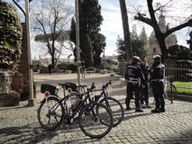 The bicycles of Rome's city policemen guard Royalty Free Stock Photos