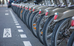 Bicycles in the row Stock Photo