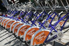 Bicycles in a row Royalty Free Stock Photo