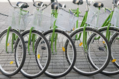 Bicycles in a row Stock Photo
