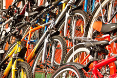 Bicycles for sale. A lot of multi-coloured bicycles for sale Royalty Free Stock Image