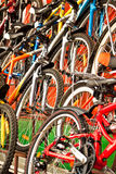 Bicycles for sale. A lot of multi-coloured bicycles for sale Royalty Free Stock Images