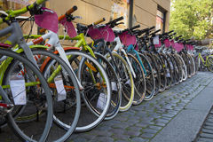 Bicycles for sale in Copenhagen Royalty Free Stock Image