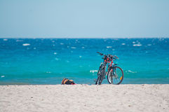 Bicycles on the sand Royalty Free Stock Photos