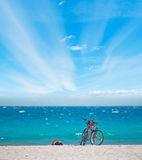 Bicycles on the sand Stock Image