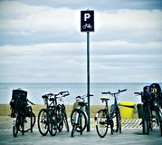 Bicycles and sea stock photo