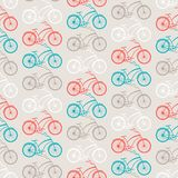 Bicycles seamless pattern in retro style Stock Images