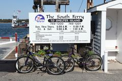 Shelter Island Travel. Bicycles are seen at the South Ferry dock to Shelter Island, NY Stock Images