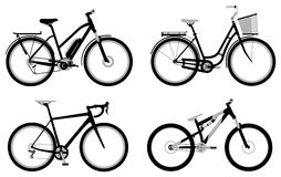 Bicycles. Set of various monochromic sport, city and electric bicycles Royalty Free Stock Photography