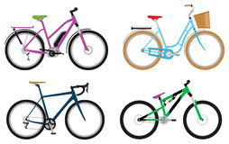 Bicycles. Set of various sport, city and electric bicycles Stock Images