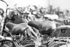 Bicycles. Shot of bunch of bicycles - b&W Stock Photo
