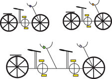 Bicycles. Single and double bicycles illustrations  on white background Royalty Free Stock Photo