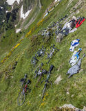 Bicycles on the Slopes of the Mountain Stock Image