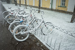Bicycles smoothly covered with fresh snow after weather phenomen Stock Images