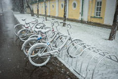 Bicycles smoothly covered with fresh snow after weather phenomena - snowfall in late April near Moscow. Scenic view of a row of bicycles smoothly covered with Stock Photos