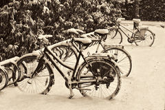 Bicycles in the Snow Stock Images