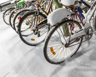 Bicycles in snow Stock Photos