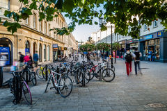 Bicycles on Southgate Street. ENGLAND, BATH - 29 SEP 2015: Bicycles on Southgate Street stock photo