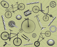 Bicycles and spares Royalty Free Stock Photography