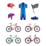 Bicycles and sports equipment for cycling. Royalty Free Stock Photos