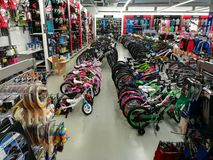 Bicycles in a sports store Royalty Free Stock Image