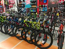 Bicycles in a sports store Stock Photo