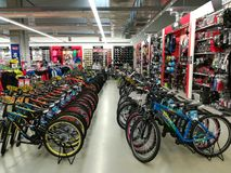 Bicycles in a sports store Stock Photos
