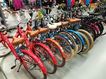 Bicycles in a sports store. And other sports equipment Stock Photo
