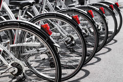 Bicycles stand in a row Stock Photography