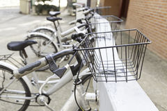 Bicycles stops in town Royalty Free Stock Photography