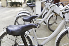 Bicycles stops in town Royalty Free Stock Photo